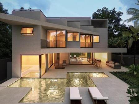 Constru o de casa moderna com piscina e fachada de vidro for Casa moderna vintage
