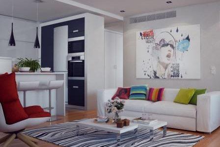 Decoração de sala de estar e cozinha americana.