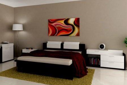 Decoração de quarto moderno.