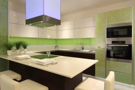 Remodelação de cozinha moderna com motivos verdes.