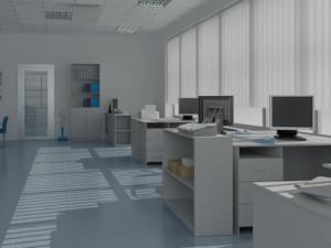 Remodelação de escritório com grandes janelas.