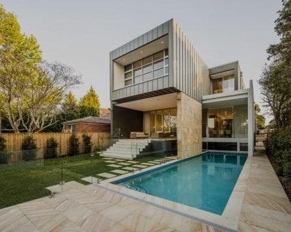 Constru o de casa moderna com piscina vintage obras for Casa moderna vintage
