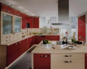 Decoração de cozinha móveis em tons de vermelho