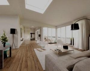 Decoração de sala de estar iluminada